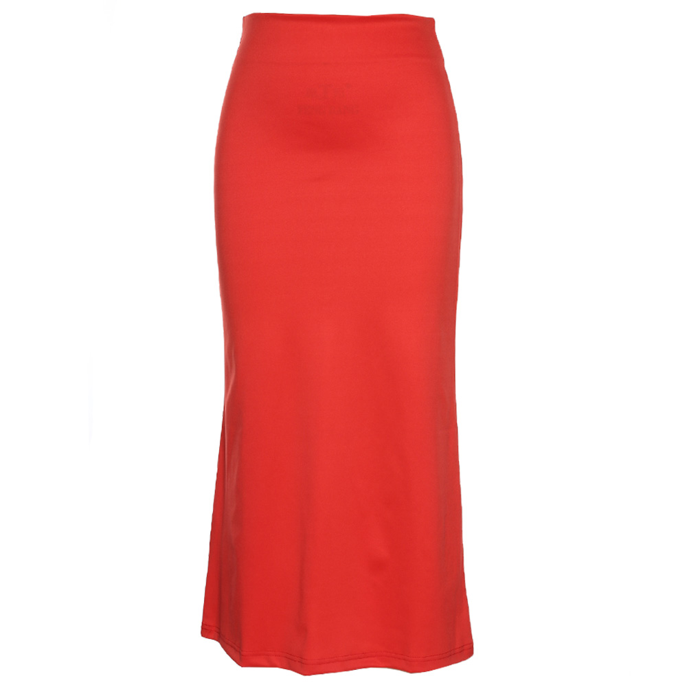 Joineles Spring Autumn New Fashion Women's High Waist Solid Color Midi Length Elastic Skirt Promotions Lady Orange-Red Skirts