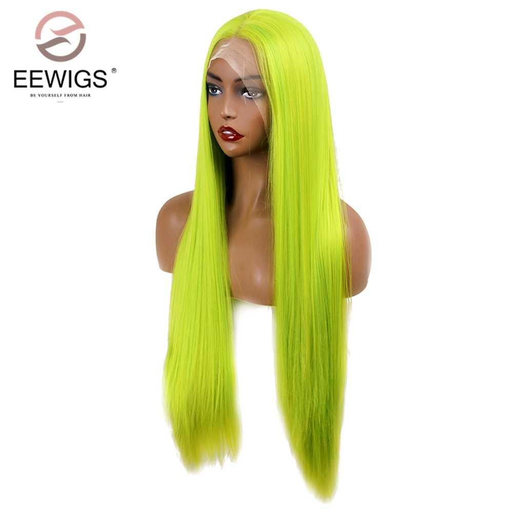 """Eewigs 26 """"perucas de cabelo reto longo glueless alta temperatura neon verde perucas sintéticas da parte dianteira do laço para preto"""