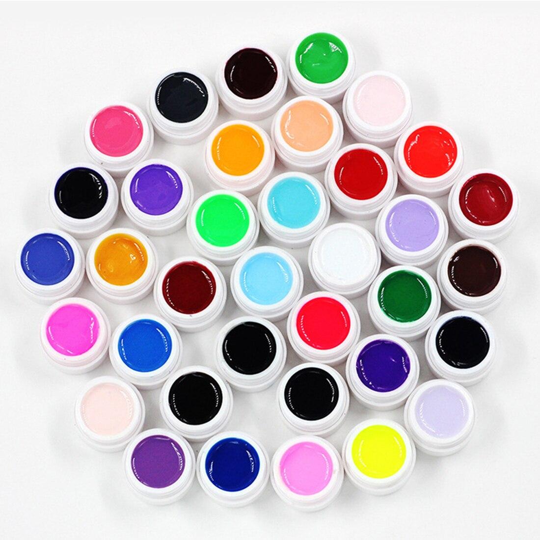 цена на Hot 36 Boxes Solid Color Nail Gel Pure Colors UV Gel Shiny Extension Longlasting Nail Art Tips Glue Nail Painting Polish Varnish