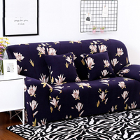 Navy Blue Flower Sofa Cover For Living Room Three Seater Protector Sofa Slipcovers Cubre Futon Couch Cover Funda Sofa 3 Plaza