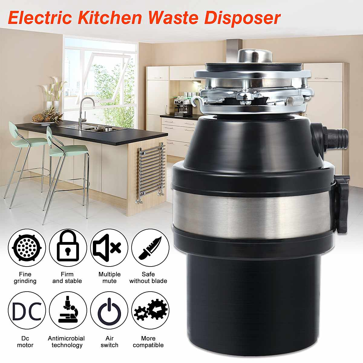 370W 220V Waste Disposer Food Garbage Disposal Garbage Disposal With Power Cord US Plug Stainless Steel Grinder Air Switch