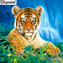 Dispaint Full Square/Round Drill 5D DIY Diamond Painting Animal tiger scenery Embroidery Cross Stitch Home Decor A12526