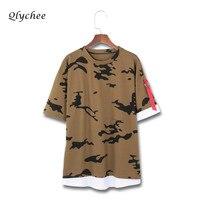 Qlychee Camouflage Patchwork Ribbon Tshirt Women Letter Short Sleeve Harajuku Female T Shirt Top Tee Street