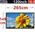 120 polegada 16:9 branco dobrar fibra suave cortina projetor portátil ao ar livre tela de 2.65 metros x 1.49 metros frete grátis