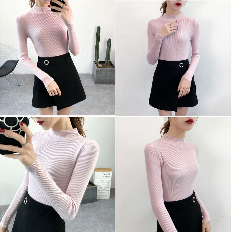 SVOKOR Sweater Women Solid Slim Half-neckline Warm Knitwear Winter Long Sleeve Turtleneck Top 9