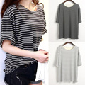 New Summer Women All-match Basic Shirt Female Top Young Girl Stripe Loose Half Sleeve Harajuku T-shirts