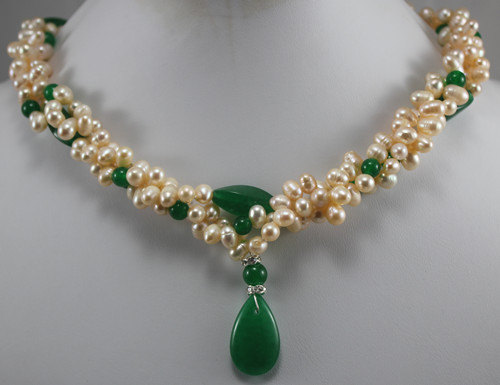 Natural Pearl Green Jades Necklace,Cultured Freshwater Pearl Green Jades Necklace New Free Shipping