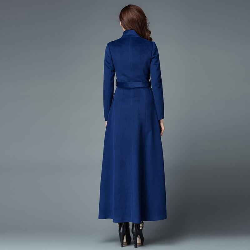 Outwear Longues navy Nouvelle 2016 gray Manches Hiver Coréen Mode Manteau En Cachemire coffee Mince À Laine Col Femmes Manteaux Black Debout Taille Blue Ox8wqAx