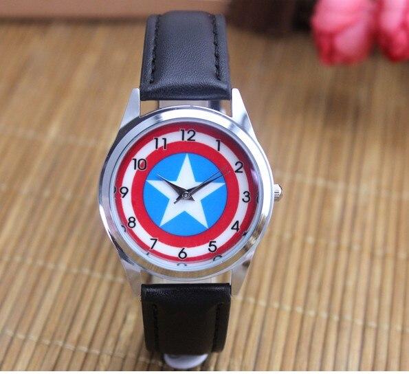 2017 Captain America Watch Fashion Watches Quartz Children Kids Clock Boys Girls Students Wristwatch Birthday Gifts