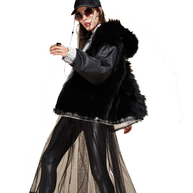 Capuche Outwear Fourrure Parka Chaud Renard Laine Hiver Deux Les Doublure 2018 Réel Manteau Plaid Mode Femmes De Côtés À Épais Nouvelles Oversize Noir 1AqYx7wg