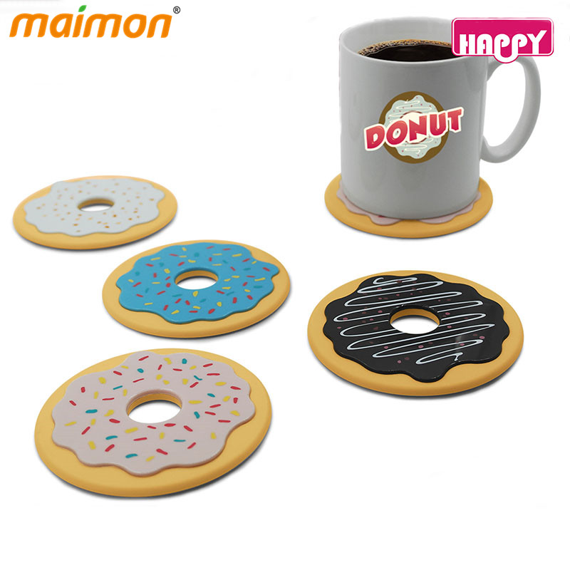 Set of 4 Donut Doughnut Coasters Novelty Style Drink Mug Coffee Mats Round