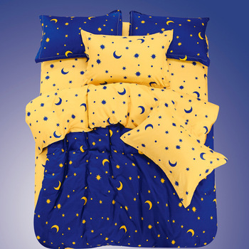 Moon and stars pattern,4Pcs Bedding Set ,Fashion , Full/King/Queen Size,Duvet Cover/Bed Spread/Pillowcases