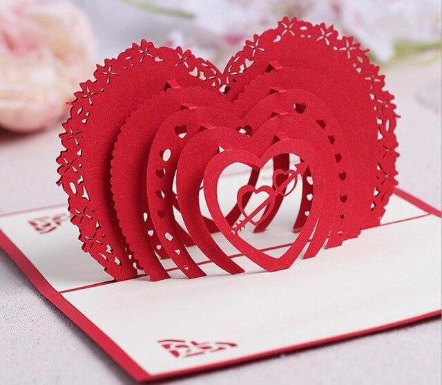 10 Stücke 3D Red Liebe Herz Handgemachte Kirigami Origami Hochzeit  Einladungskarten Greeding Geburtstagskarte Postkarte