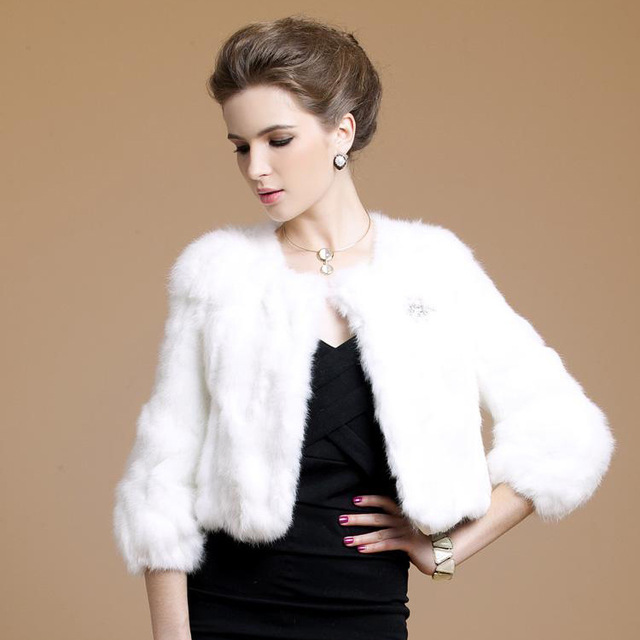New Women Faux Fur Short Jacket Patchwork Long Sleeve Rabbit Fur ...