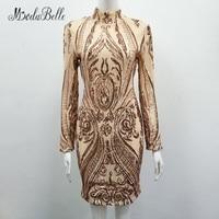 Modabelle блесток дамы Коктейльные платья с рукавами высокого Средства ухода за кожей Шеи розовое золото/черные короткие Вечеринка платье для ж