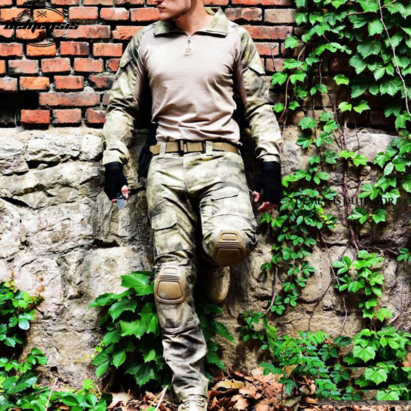 Atacs Tactical Uniform Clothing Army Combat Multicam Uniform Tactical Shirts Pants with Knee Pads Camouflage Military Set