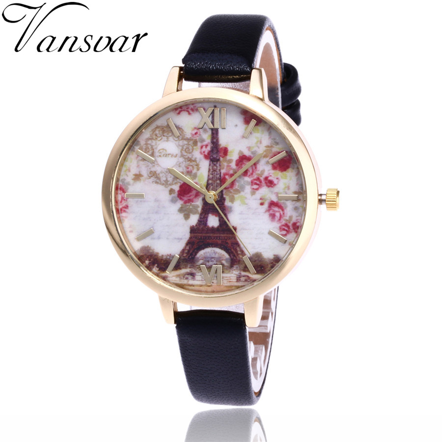 Vansvar Fashion Flower And Tower Watch Garden Beauty Women Bracelet Wrist Watch Luxury Quartz Watch Gift Relogio Feminino V59