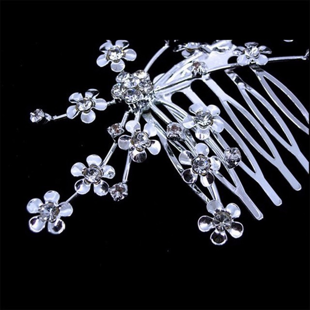 KISSWIFE New Silver Personality Crystal Wedding Bridal Jewelry Headband Hair Clip Hair Jewelry Accessories best deal 1pcs