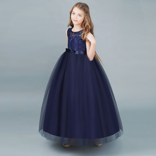 New Fashion Girls Kids Long Events Party Prom Dresses Teenage Girl Clothes  Princess Children Flower Lace Girl Dress For Wedding d13c2aa6c547