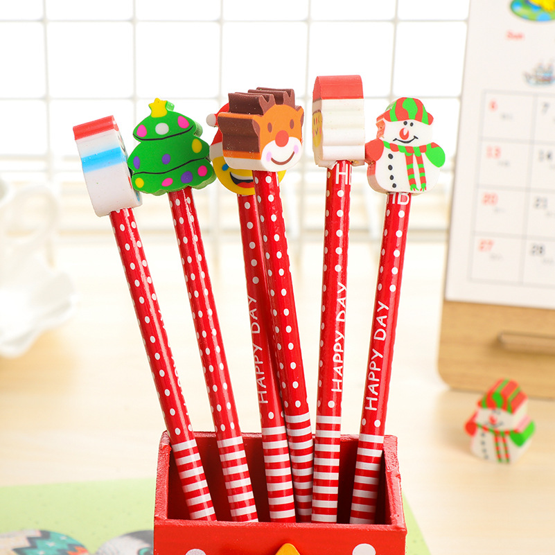12 pcs/lot Cute Cartoon Wood Pencils for Writing Novelty Design Merry Christmas Gifts Wooden Pencil Students School Office