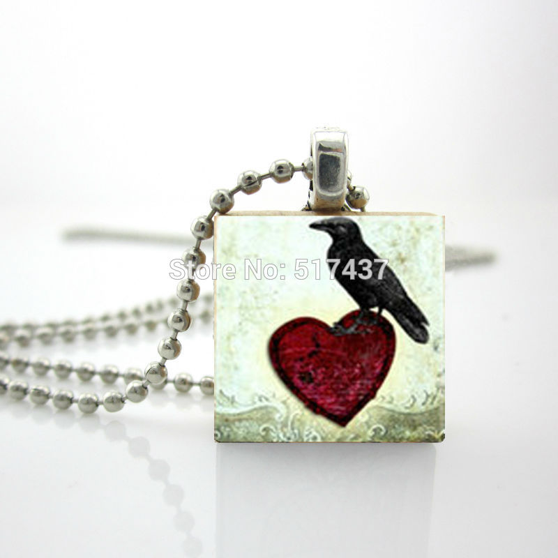 2015 New Scrabble Game Tile Jewelry Raven Heart Necklace Glass Dome Pendant For Jewelry