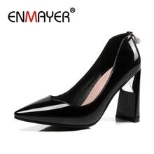 ENMAYER Big Size 34-45 2018 New Fashion high heels women pumps thin heel classic Pumps shoes Women PU Party Shoes CR579