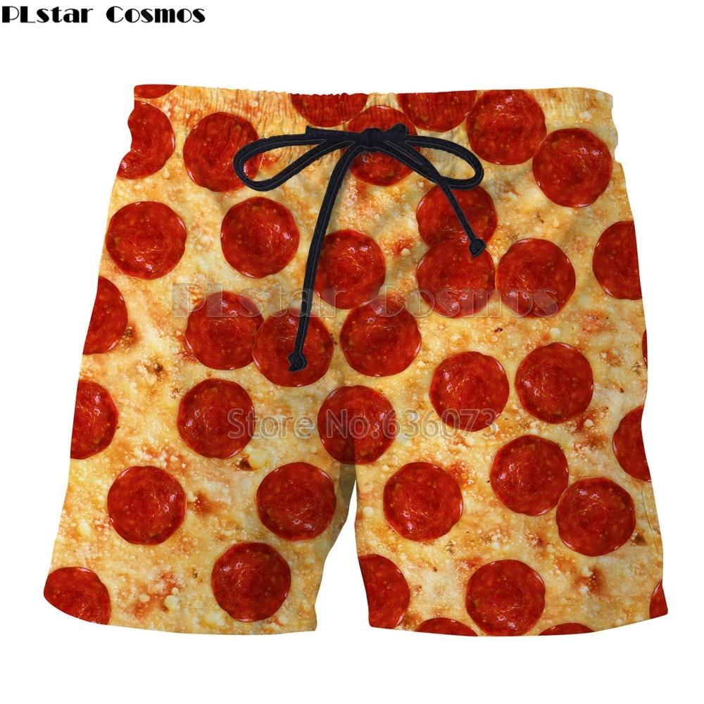 PLstar Cosmos Brand clothing 2018 summer Mens Womens Shorts Food Pizza/Hamburg/Macarons Print 3d Cool Casual shorts