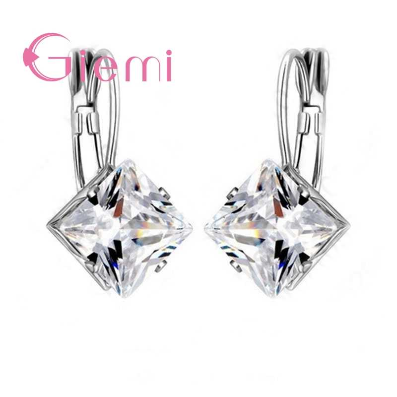 925 Sterling Silver Generous Geometric Shape Square Crystal Earring Cubic Zirconia Wedding Ceremony Party Ornaments