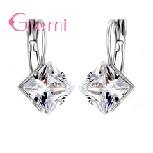 925 Sterling Silver Generous Geometric Shape Square Crystal Earring Cubic Zirconia Wedding Ceremony Party Ornaments popular 925 sterling silver 5 colors square cubic zirconia stone austria crystal classic clip earring women jewelry brinco