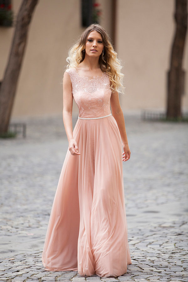 3c79340ba04a6 2017 Stunning Beaded Lace Chiffon Blush Pink Evening Dresses Long Prom Dress  Backless Sexy Women Formal Gowns Party Gowns Online-in Evening Dresses from  ...