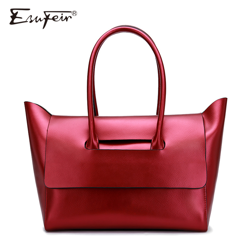 2017 ESUFEIR Brand Genuine Leather Women Bag Luxury Handbag Women Bag Designer Leather Women Shoulder Messenger Bag Casual Tote luxury genuine leather bag fashion brand designer women handbag cowhide leather shoulder composite bag casual totes