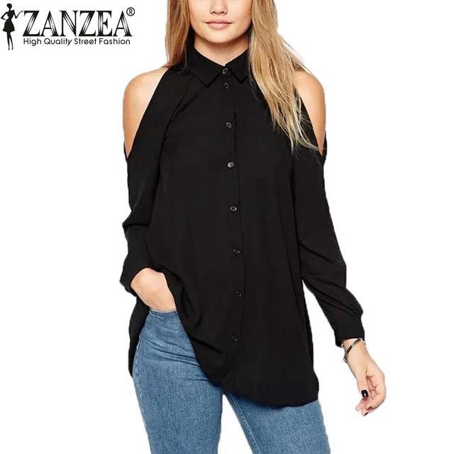 Plus Size Zanzea 2016 Mujeres de Gira el Collar Abajo Blusas Femininas Camisa de Manga Larga Tops Sexy Fuera Del Hombro Largo de La Gasa de La Blusa