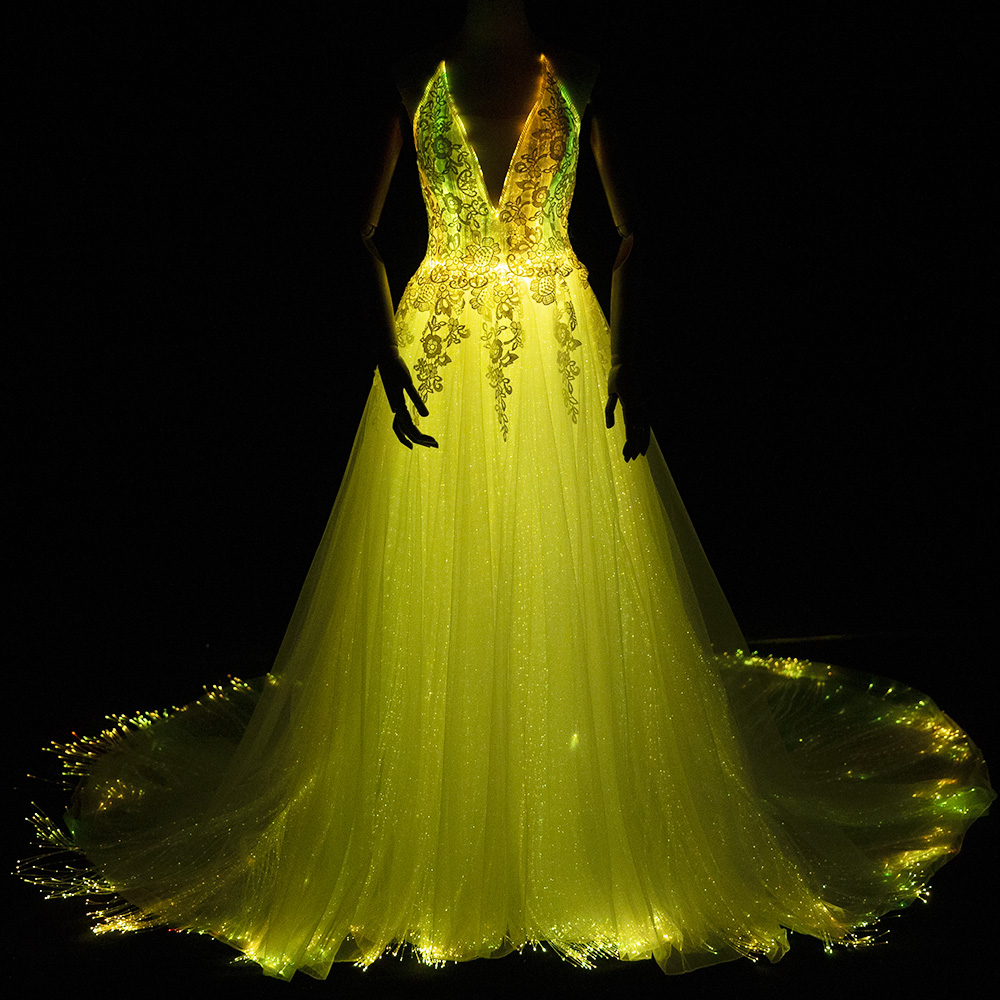 Luminous Wedding Dress 2018 Night Glow In Dark Smart Mobile App Controled 7 Variable Color Shining: Dark Gold Wedding Dress At Reisefeber.org