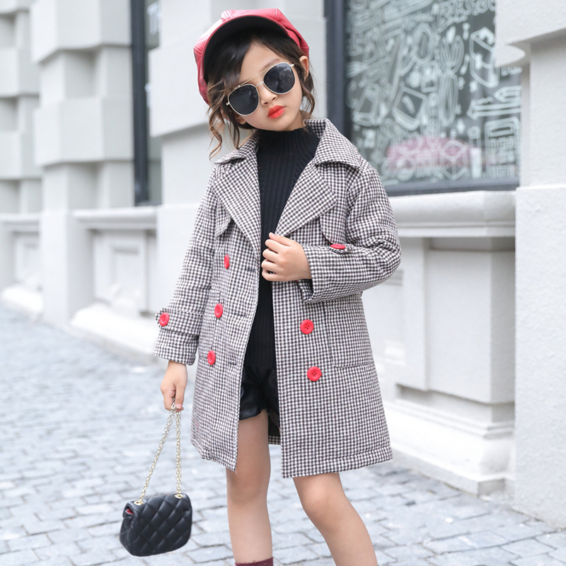 Autumn and winter new children's clothing 2017 children's plaid jacket girls long section of cotton coat 3-12 years baby clothes