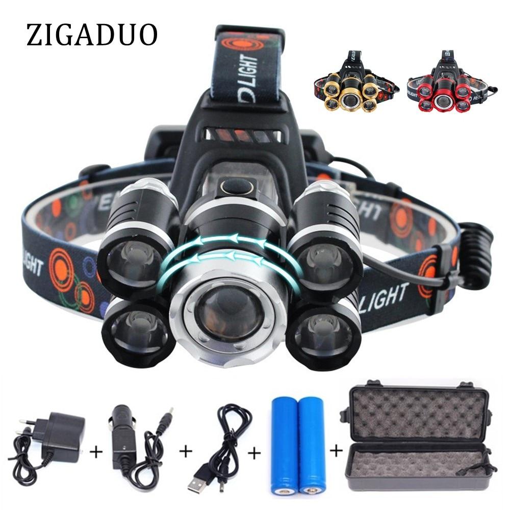 LED XML T6 Scheinwerfer 20000 Lumen 4 modus Zoomable Scheinwerfer Wiederaufladbare Kopf Lampe Taschenlampe für Camping Jagd Angeln