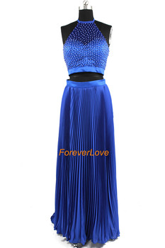 2016 Beautiful Halter Two Pieces Black White Blue Pearls Long Prom Dress Party Formal Evening Dress