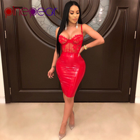 PinePear High Quality PU Leather Lace Dress 2019 Women Spaghetti Strap Party Mini Dress See Through Sexy Club Wear Dropshipping
