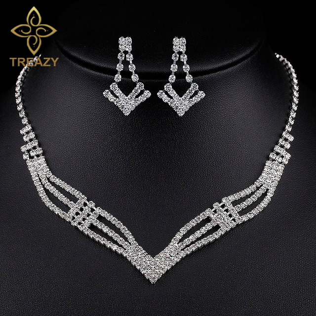 Treazy Simple Crystal Bridal Jewelry Sets Silver Color Rhinestone Geometric Earrings Necklace For Women Wedding