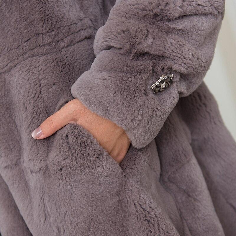Pull 2018 Rex Vraie Grand Movau0035 3 Loose D'hiver Fit Pierre Ourlet Lapin Bas La 1 Du Naturel Manteaux Vestes Fourrure Cristal De Ligne 4 Femmes Une 2 oxBCdWre