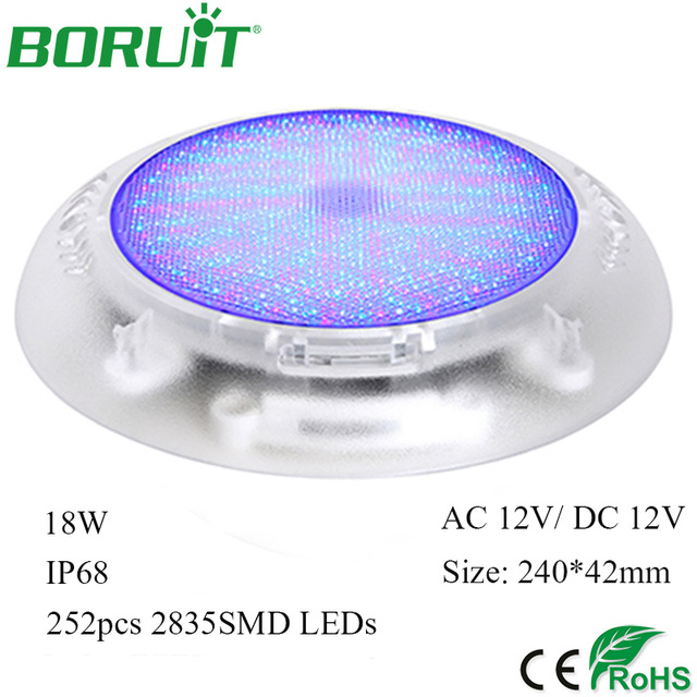 BORUiT 18W RGB Swimming Pool Light 252 Colorful LEDs Underwater Lights for  Pools Waterproof Square Park Landscape Fountain Light-in Underwater Lights  ...