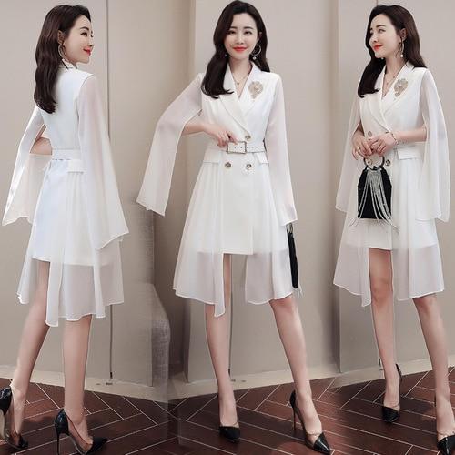 Robe d'affaires De couleur Pure pour les femmes bureau Double boutonnage robe blanche élégante robes De soirée robe manches Vestido De Festa