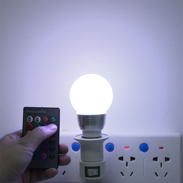 E27 E14 LED RGB lamp Bulb AC110V 220V 5W 7W LED RGB Spot light Dimmable Novelty Holiday RGB lights+IR Remote Control 16 colors