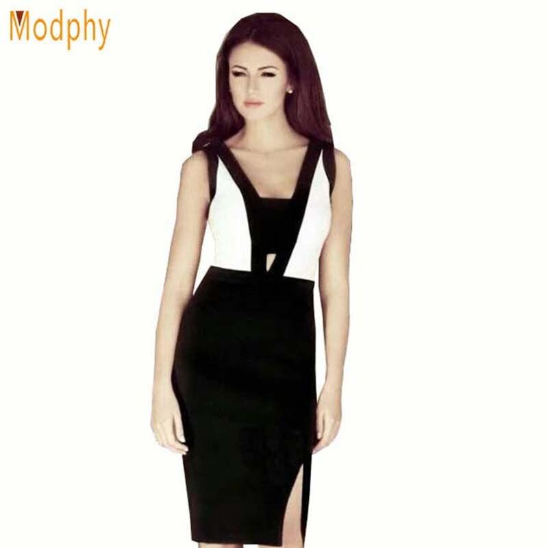 2018 New Style Women Bandage dress Black White Fashion Design Sleeveless Open Back Dresses for party prom drop shipping HL555