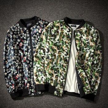2019 new jacket loose men's bomber jacket men's casual hip hop baseball collar print fashion jacket smooth jacket streetwear Jackets