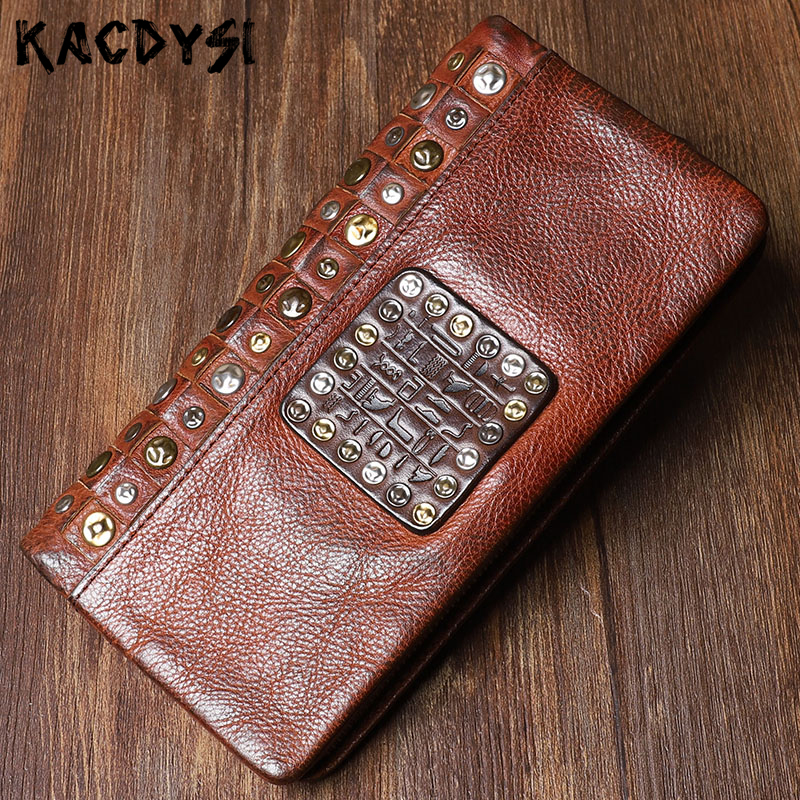 Retro Designer Men s Card Cash Wallet Original Genuine Leather Fashion Long Man Clutch Purse Phone