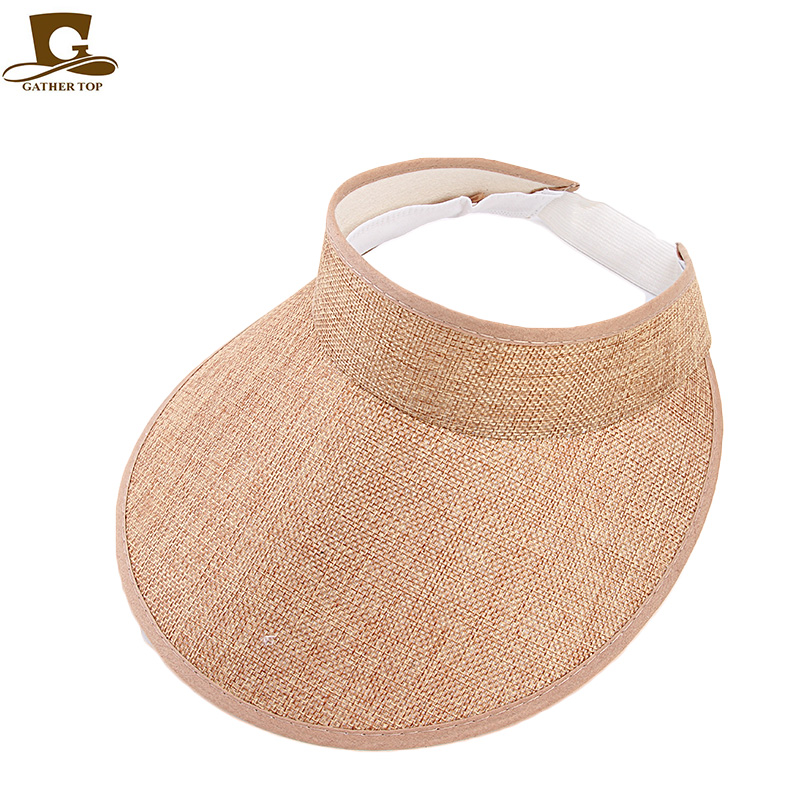 Women empty Top sun hat 2019 new fashion outdoor Summer Style hemp sports baseball cap Plastic Sun Visor Hat Free Shipping in Boys Costume Accessories from Novelty Special Use