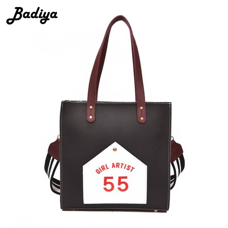 Fashion Women Patchwork PU Leather Tote Bag Wide Strap Shoulder Bag Casual Zipper Handbags Messenger Female Bolsa