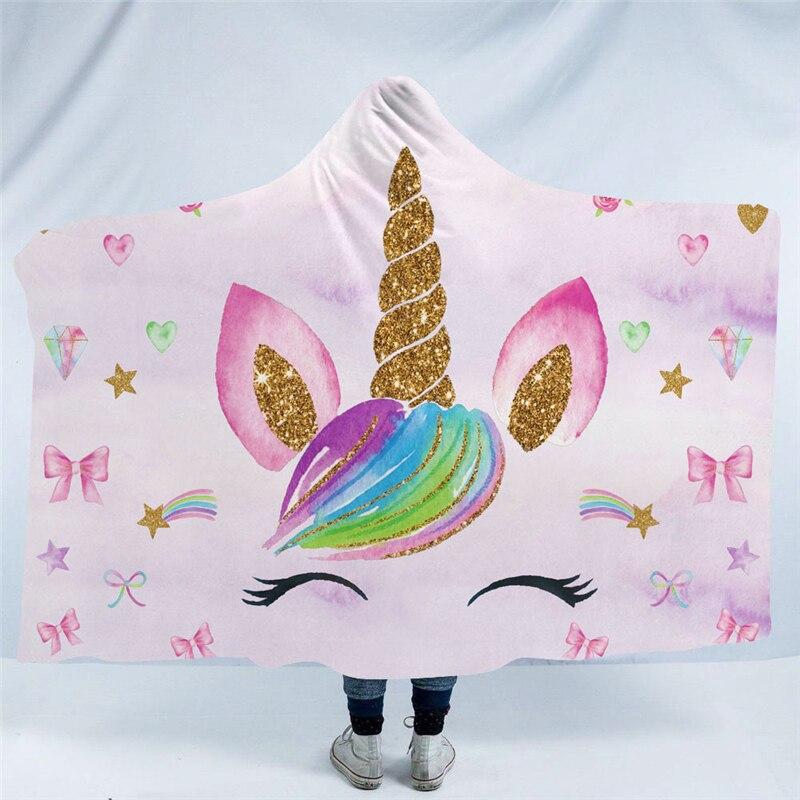 Dessin animé arc-en-ciel licorne impression à capuchon couverture bohème hiver chaud portable canapé jeter couverture Mandala adulte literie décor à la maison