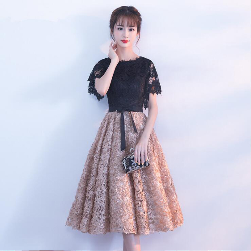 O neck Middle Length Short Sleeves Zipper   bridesmaid     dresses   2019 Lace wedding guest   dress   Party Gowns