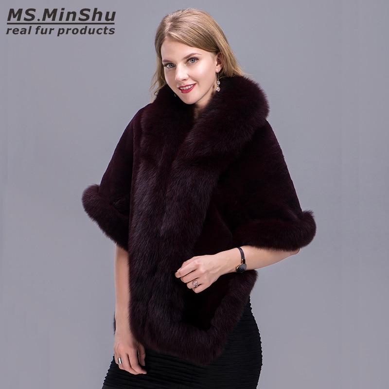 Image 4 - Fox Fur Trimmed Rex Rabbit Fur Cape Fox Fur Shawl Winter Women Real Fur Pashmina Fashion PonchoWinter Cape Female MS.MinShushawl winterfur shawl winterfur pashmina -